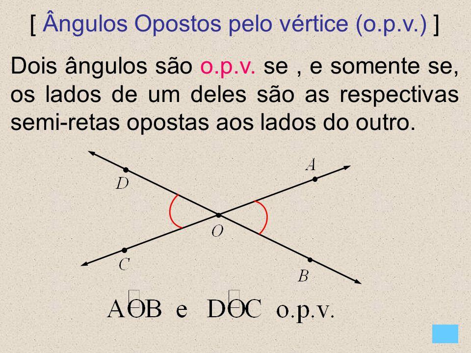 [ Ângulos Opostos pelo vértice (o.p.v.) ]